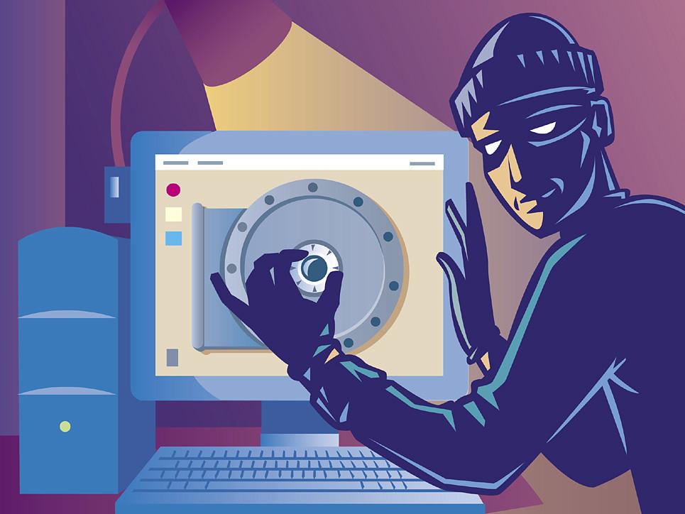 Ilustração de um hacker tentando ter acesso à arquivos de outras pessoas.